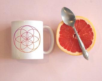 Flower of Life Coffee Mug, Sacred Geometry Mug, Geometric Design, Namaste Mug, Zen Mug, Yogi Coffee mug