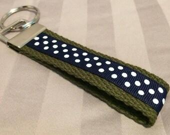 Pretty Polka Dot Wristlet Key Fob