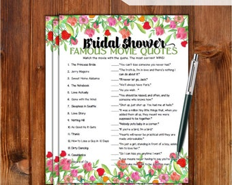 Famous Movie Quotes Match Game Bridal Shower Game - Roses Flowers Theme Printable Movie Quotes Match Game - Bachelorette Party