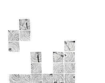 Handmade Wood Block Print - Tetris