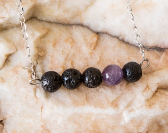 Lava Bead Essential Oil Diffuser Necklace and Bracelet- Aromatherapy Oil Diffuser Necklace - Bar Necklace-Amethyst Accent Bead - Non tarnish