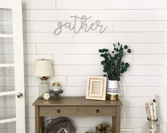 Large Gather Word Wood Cut Out Wall Art Decor Sign