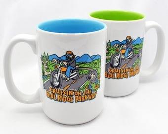 Mighty 15 Oz. Ceramic Mug - Cruisin'on The Blue Ridge Parkway