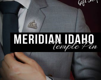 Meridian Idaho Temple pin silver or gold finish Lapel pin