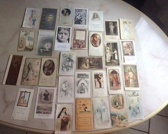 Set of 31 vintage religious images
