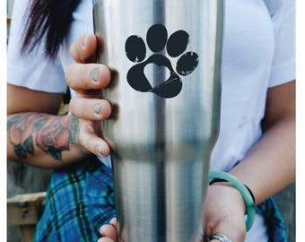 Custom Tumbler/ Puppy Love/ Dog Mom/ Engraved/ with lid PERSONALIZED/ Gift Idea/etched yeti/ Yeti style/ stainless steel/ hot cold cup/ cat