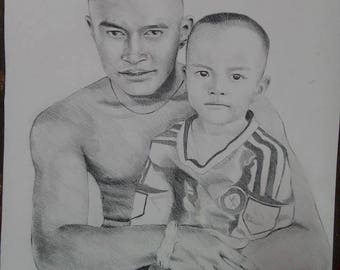 Custom Portrait, drawing, 16.5x 23.4  inch- Painting From Your Photo