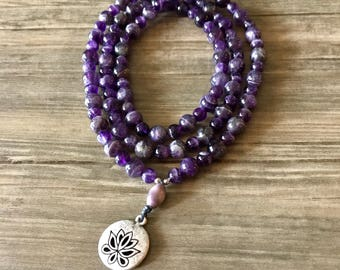 Amethyst and Lotus Blossom Mala