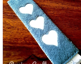 Soft felt gray bookmark with white hearts