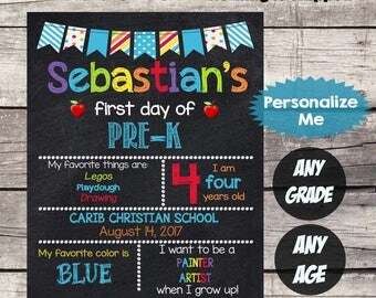 First Day of PRE-K Sign - First Day of School sign - First Day of School Chalkboard Printable Personalized Back to School Sign ANY grade #2
