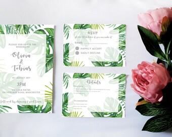 Tropical Palm Leaves Wedding Invitation Suite. Invites, RSVP, Details Card. Digital & Print Available