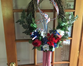 Independence Day, July 4th, Patriotic Decor, God Bless USA, Summer Wreath