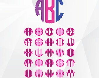 Scalloped Circle Monogram SVG, Circle monogram font svg files for Silhouette,Cricut, Print,Design and any more