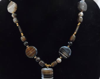 Banded Onyx Necklace with Pendant