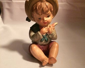 Vintage Boy with Strawhat Figurine - Lipper + Mann figurine - Piano Babies