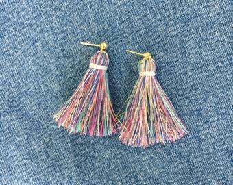 Short Trendy Tassel Earrings, Fringe Tassel Earrings, Rainbow, Colorful