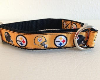 Limited Slip Dog Collar, Small Black and Gold Limited Slip Collar, Steelers Limited Slip Dog Collar, Small Adjustable Steelers Dog Collar