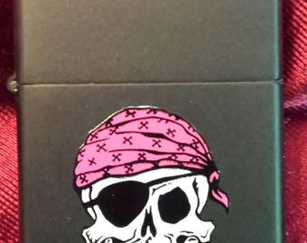 Vintage Zippo Cigarette Tobacco Flip Top Lighter Painted Pirate Skull 80's Punk!