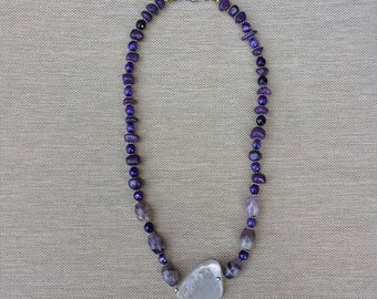 midas necklace // gifts for her // one of a kind // amethyst // purple // pendant