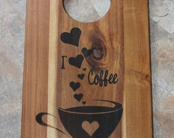 I Love Coffee Design, Acacia Wood Serving Board. Great for Housewarming or Wedding Gifts.