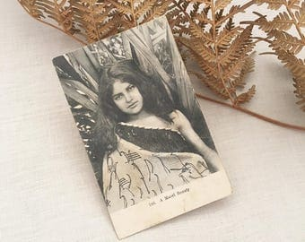 Antique Maori Postcard - vintage unused photographic - new zealand - maori woman tribe - ephemera paper curio assemblage art #0765