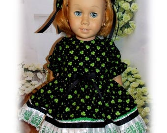 "Chatty Cathy sized doll clothes. Green clover Dress & 2 Hair Bows fits dolls that are the same size as the 20"" tall Chatty Cathy doll. Toy"