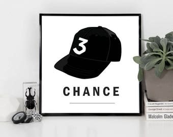 3 Chance The Rapper Vector Illustration Printable Downloadable Wall Art Print | 8x8, 12x12, 16x16