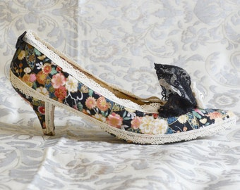 MARIE THERESE shoes Baroque rococo style fantasy costume Venice Carnival costume Pompadour Antoinette cream black