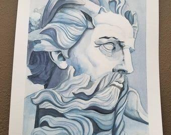 """Original """"Neptune"""" Watercolor Painting 15x11"""