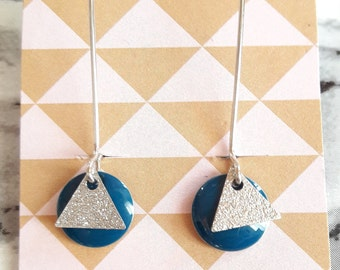 "Earrings ""Lozenge"" blue duck"