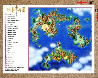 "Final Fantasy III 3 World of Balance High Quality Map Poster 13"" x 19"""