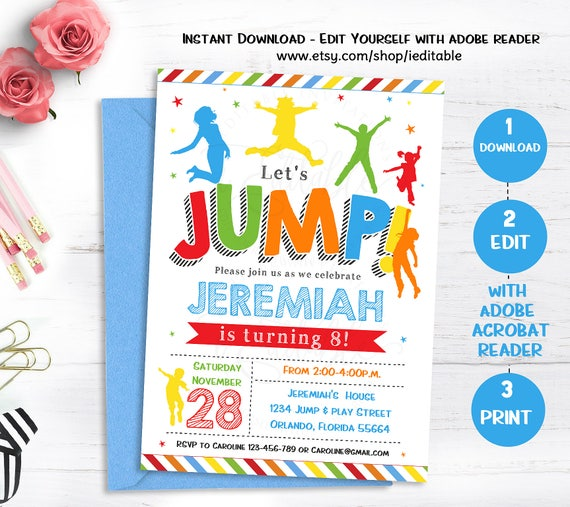 Jump Invitation Bounce House Birthday Invite Trampoline
