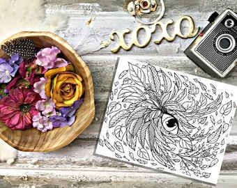 Color Your Own Coloring Page- Leaves of my Eye- Hand drawn by Lady Girvi-Adult Coloring Page