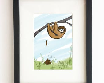Sloth -  Poo Collection (Home Decor, Wall Art, Smiling Sloth, Slow, Art, Print, Home Decor, DIY Decor, Illustration,Funny, Bathroom Art)