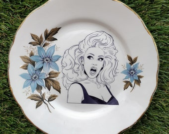 RuPaul blue floral plate / dish - exclusive illustration by Matt Syms, RPDR RuPaul Drag Race queen blue flower vintage kitsch