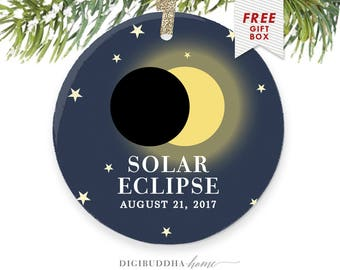 Solar Eclipse 2017, Solar Eclipse Ornament Commemorative Solar Eclipse Christmas Gift, Solar Eclipse Party, Total Solar Eclipse Souvenirs