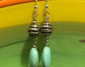 Turquoise & Silver Ball Dangled Earrings