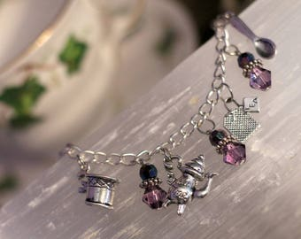 TEA THEMED Charm Bracelet featuring gorgeous light catching faceted beads!!