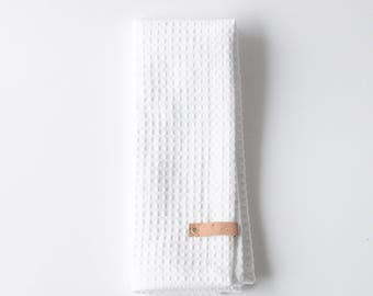 The Waffly Tea Towel | White Kitchen Towel with Cork Detail | Minimalistic home textiles | Made in Finland by Sandramaria