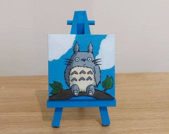 Totoro   Acrylic Paint on Mini-Canvas + Easel   Home Made