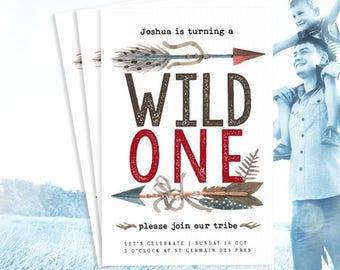 F+J: Wild One Birthday Invitation - Boy First Birthday Invite - Bohemian Birthday Invitation - Boho Birthday Invites
