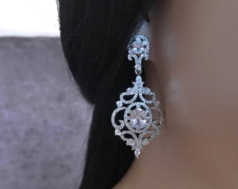 Bridal Earrings Wedding Earrings Rhinestone Earrings Zircon Earrings Bridesmaid Earrings Wedding Silver Chandelier Earrings Bridal Jewelry