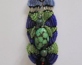 Turquoise Cuff Bracelet, beads and macrame SETI
