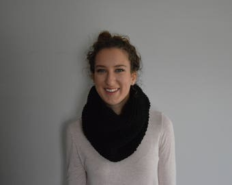 Knit Cowl - Infinity Scarf - Black