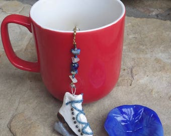 Figure Skate Tea Infuser with Snowflake Dish, Christmas Tea Infuser