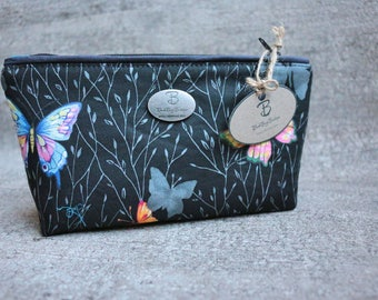 Handmade Make Up Bag. Butterfly print pencil case. Black Make Up Bag. Butterfly Make Up Bag. Gift For Girls. Gift For Her. Teen Gift.