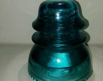 A Hemingray 42 insulator. Beautiful Deep Aqua Color.