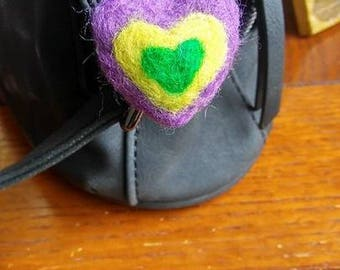 3D Needle felted heart key chain