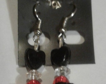 Red and Black heart bead earrings