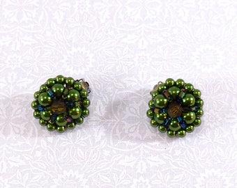 Vintage green cluster bead clip on earrings
